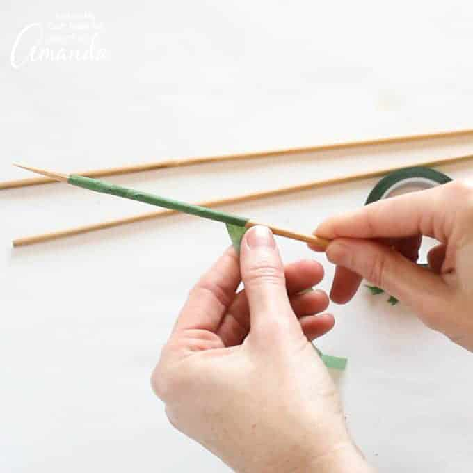 wrap floral tape around skewers