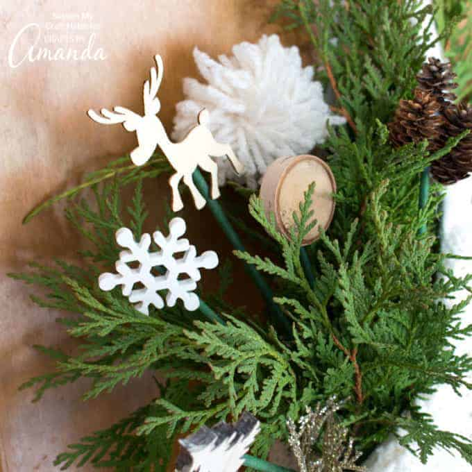 reindeer, snowflakes, and wood slice wooden skewers
