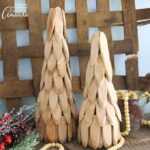 You can make these easy yet charming rustic feeling wood slice trees for your Christmas mantle or as a centerpiece on a table!