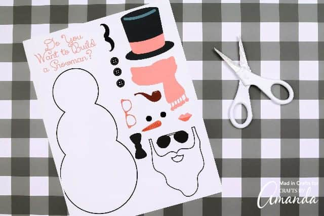 Build a snowman printable with scissors