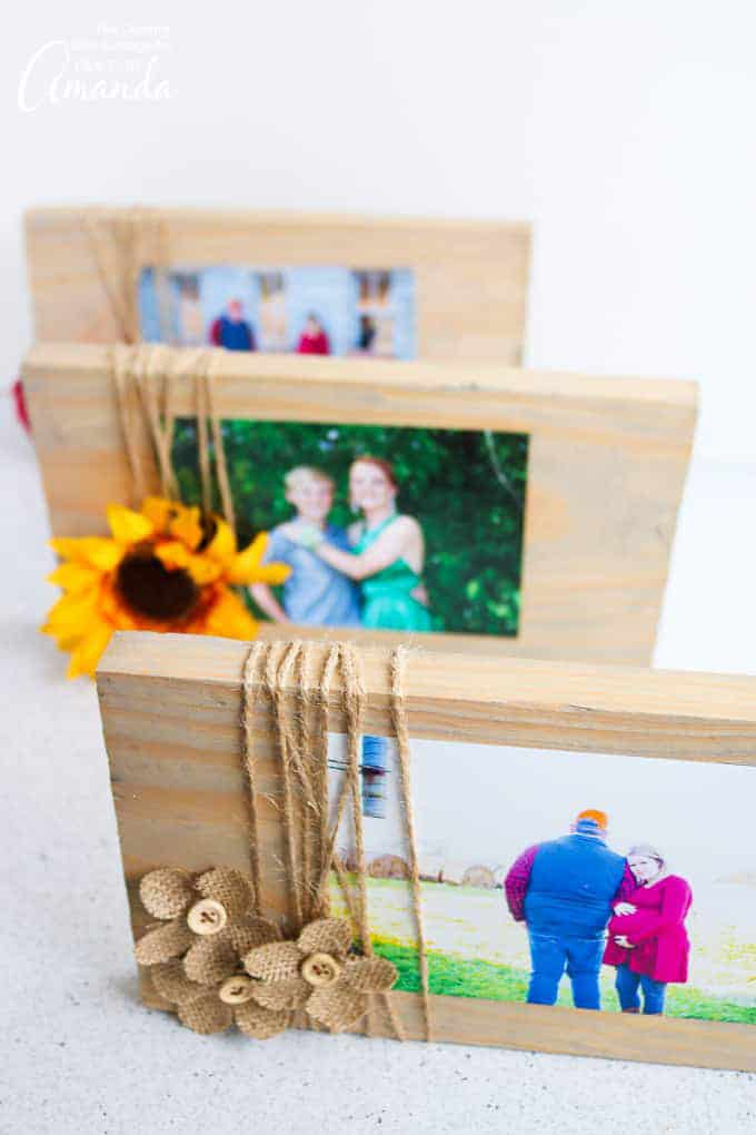 Scrap Wood Frames with embellishments and twine.