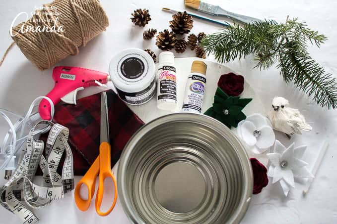 Supplies you'll need to make a snowman hat centerpiece