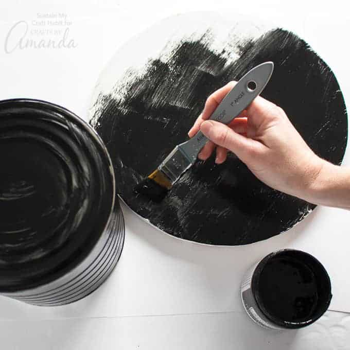 Painting the bottom black for snowman hat centerpiece
