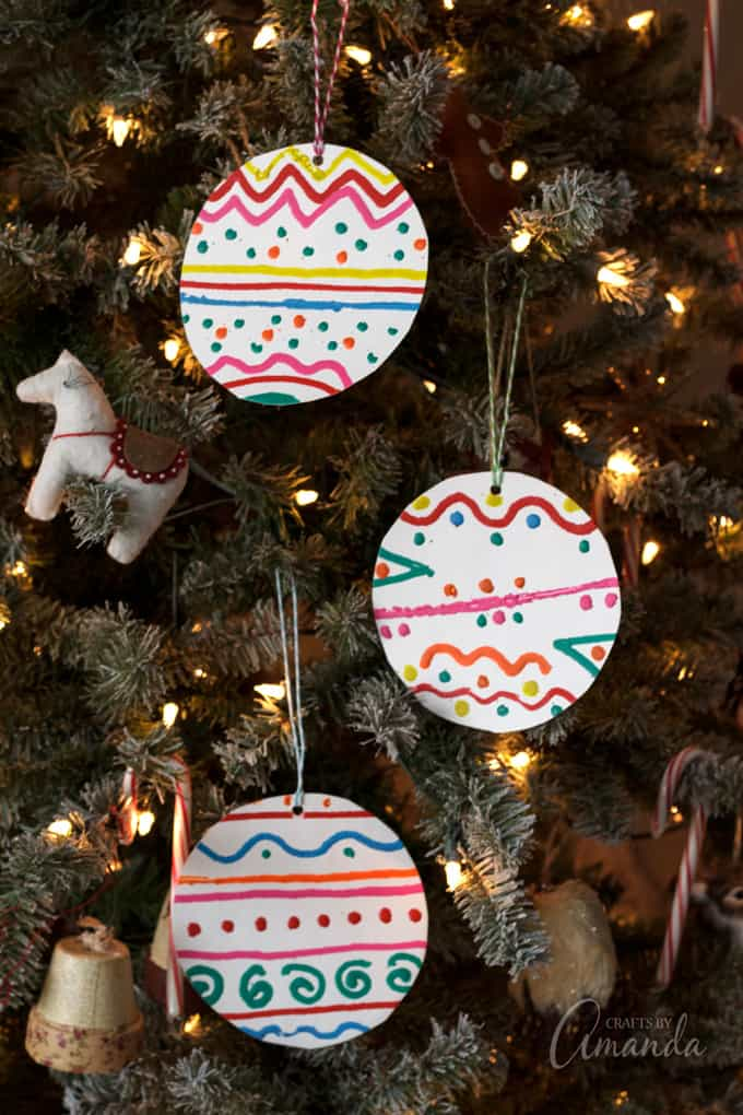 Paper Plate Melted Crayon Ornaments
