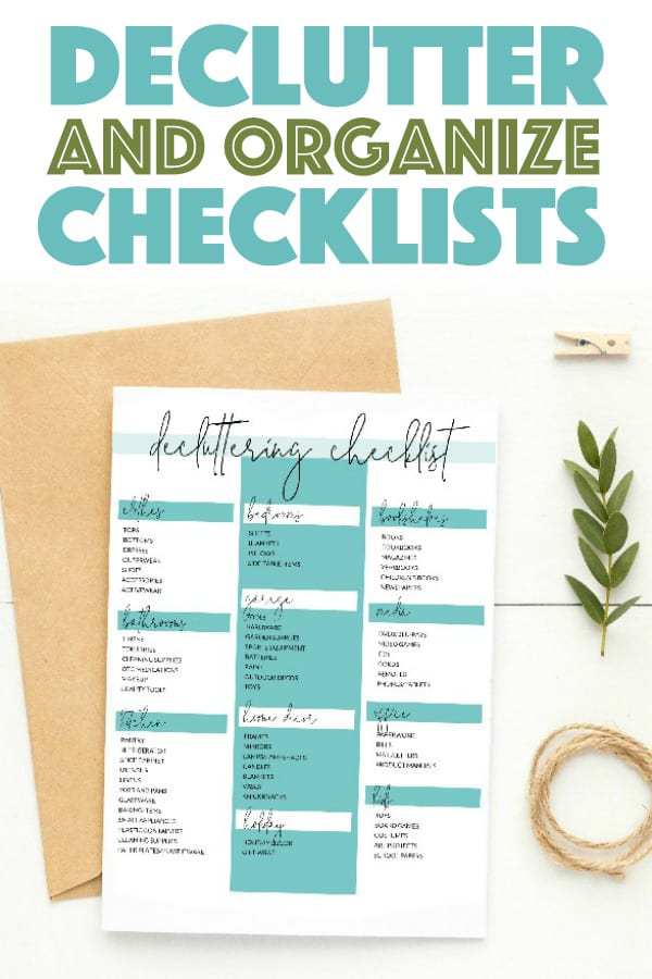 Declutter and Organize Checklists Free Printable