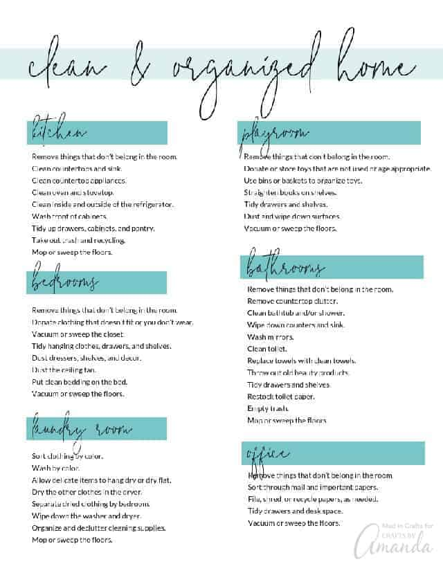 Home organizing checklist