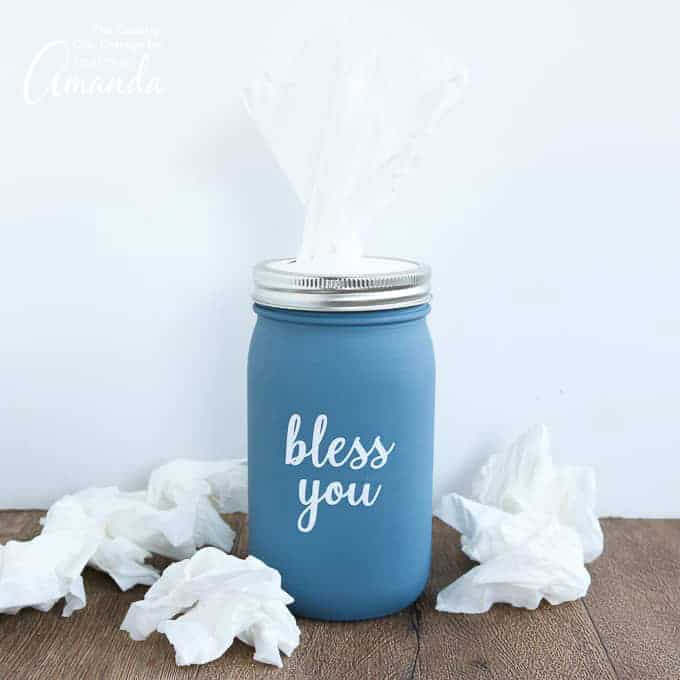 Mason Jar Tissue Holder with kleenex