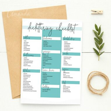 declutter checklist on table