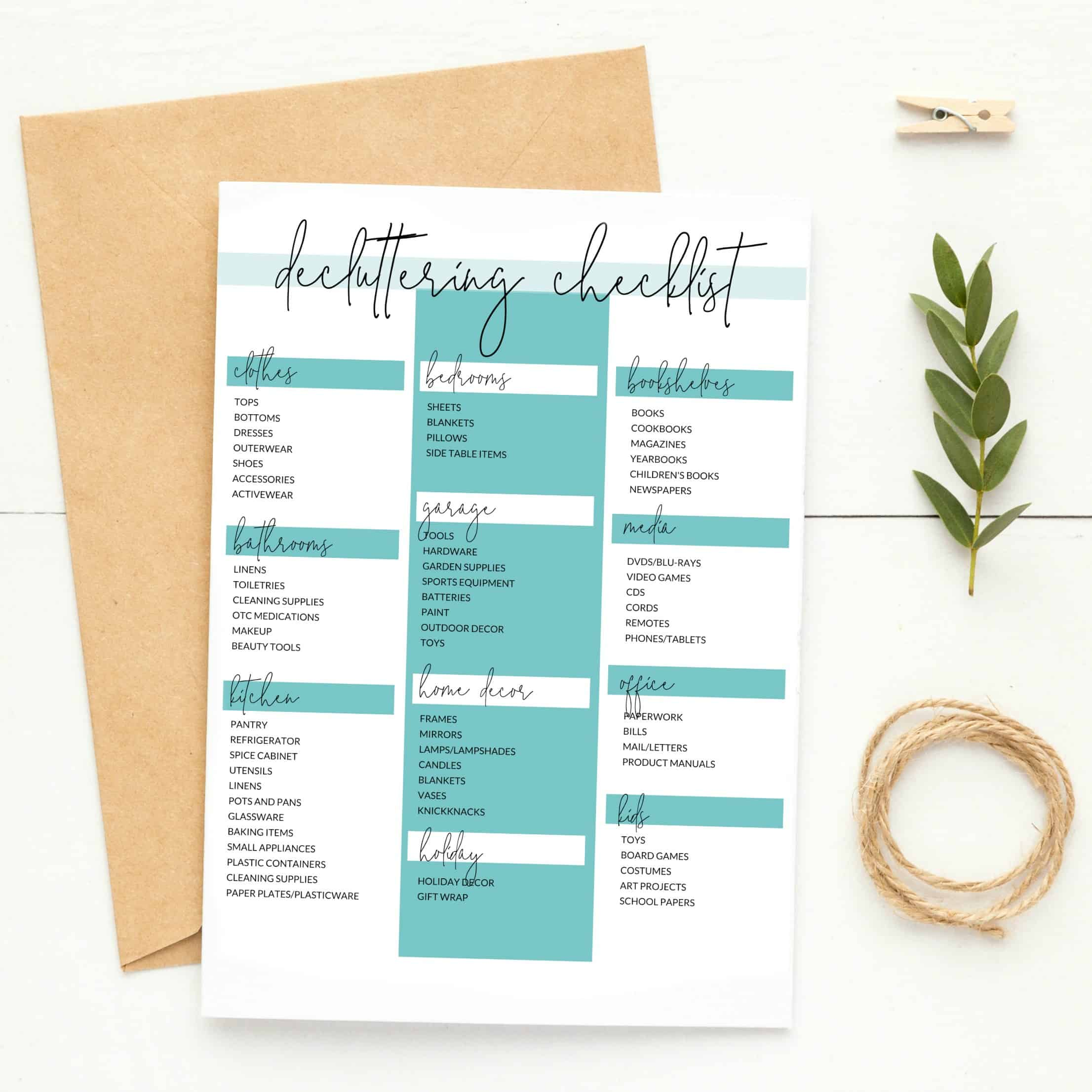 Declutter and Organize Checklists