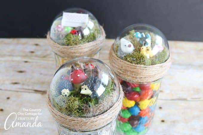 mason jars topped with fairy garden domes