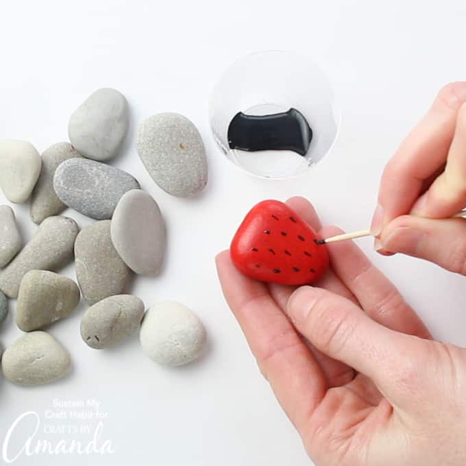 How to make strawberry painted rocks