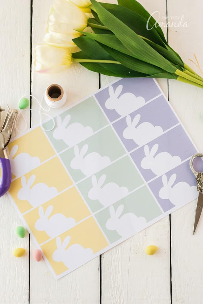 Sheet of Printable Easter Basket Tags