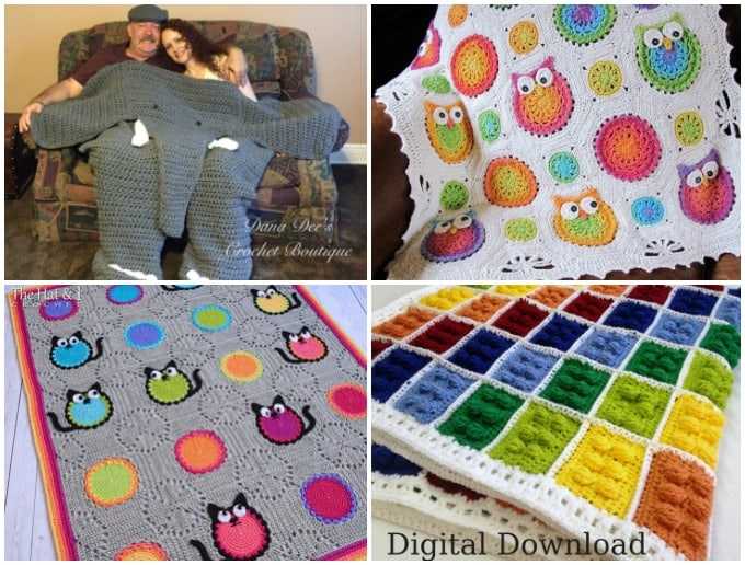 crochet elephant blanket for two, owl blanket, cat lover blanket, lego blanket