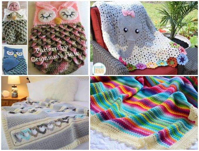 crochet blankets - owl cocoon, elephant baby blanket, heart blanket, colorful crayon rainbow blanket