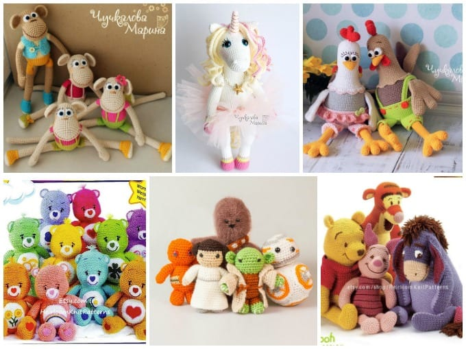 crochet dolls - monket, unicorn, hena nd rooster, care bears, star wars, winnie the pooh