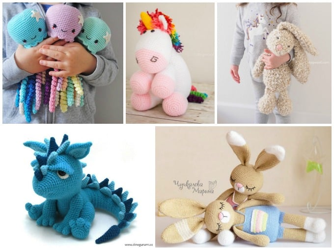 crochet doll patterns for octopus, unicorn, rabbits, dragon