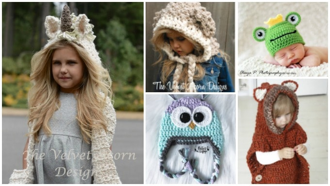 crocheted unicorn hood, fox hood, lamb hood, frog hat, owl hat