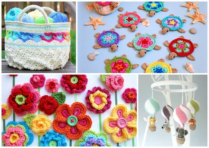 crochet tote bag, turtles, flowers, and mobile