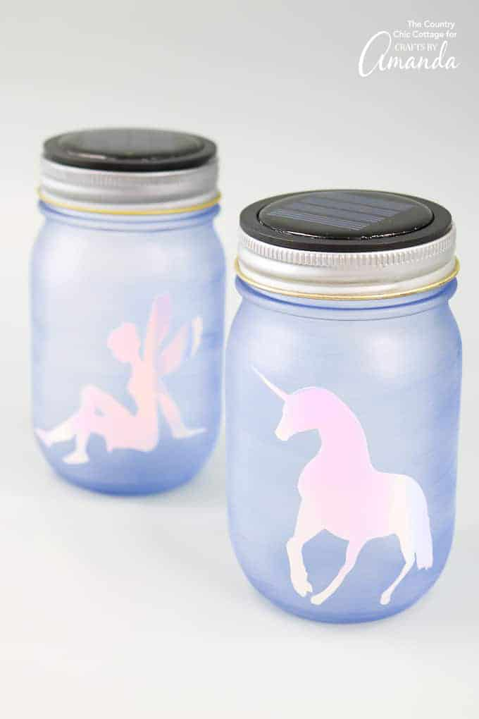 Unicorn and fairy mason jar nightlights with solar powered lids