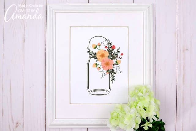 mason jar printable in frame