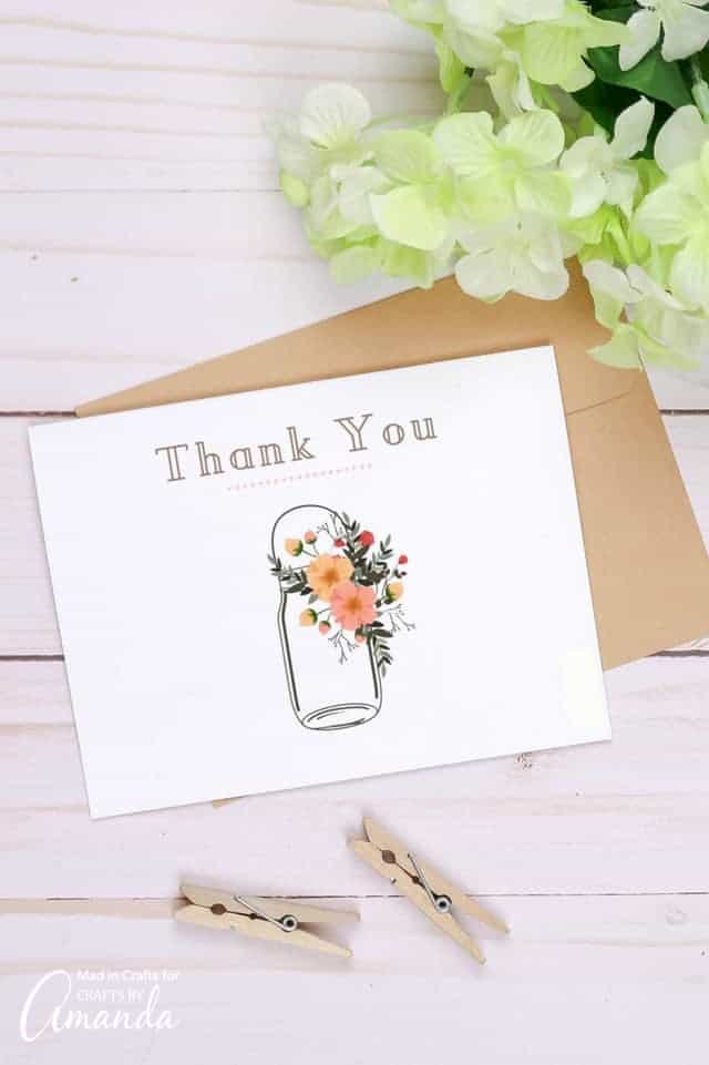 thank you card with mason jar and flowers