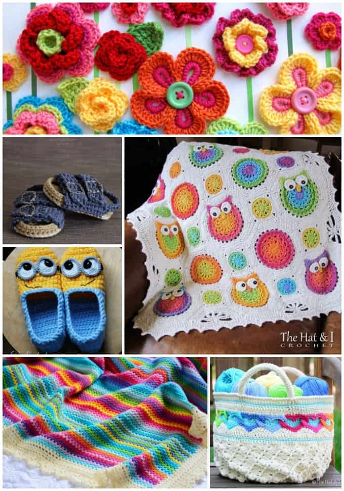 Crochet patterns collage