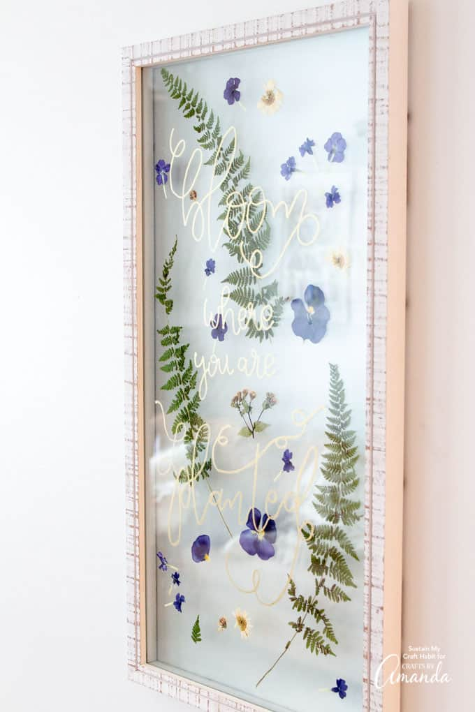 Floating frame with pressed flowers