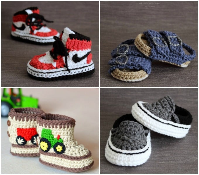 crochet shoe patterns for air jordans, birkenstocks, tracotr booties and vans