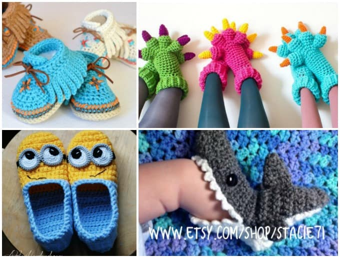 crochet shoe patterns for moccasins, monster slippers, minion slippers, shark socks