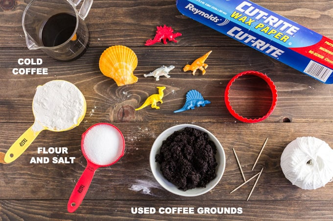 supplies you need to make coffee ground salt dough for fossils