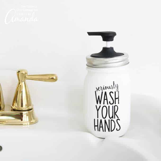 "Mason Jar Soap Dispenser with quote ""seriously, wash your hands"""