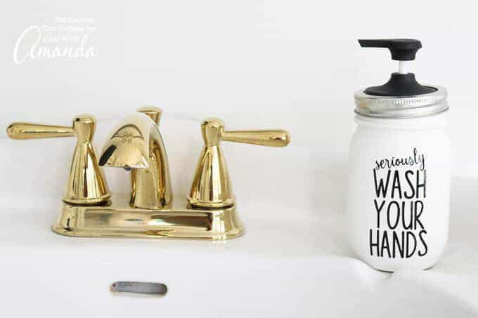 Seriously, wash your hands Mason Jar Soap Dispenser sitting on sink