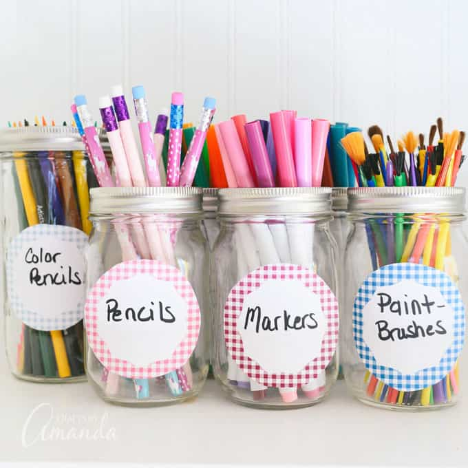 jars filled with craft supplies