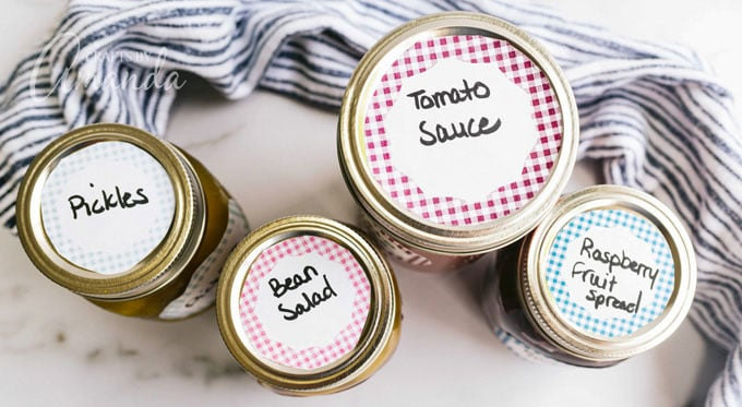 jars with labels on their lids