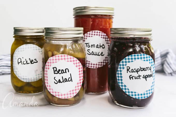 canned food on jars with labels on the front