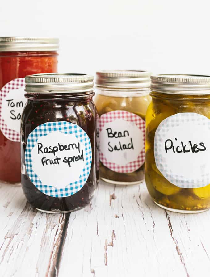 canned food in jars with pretty labels