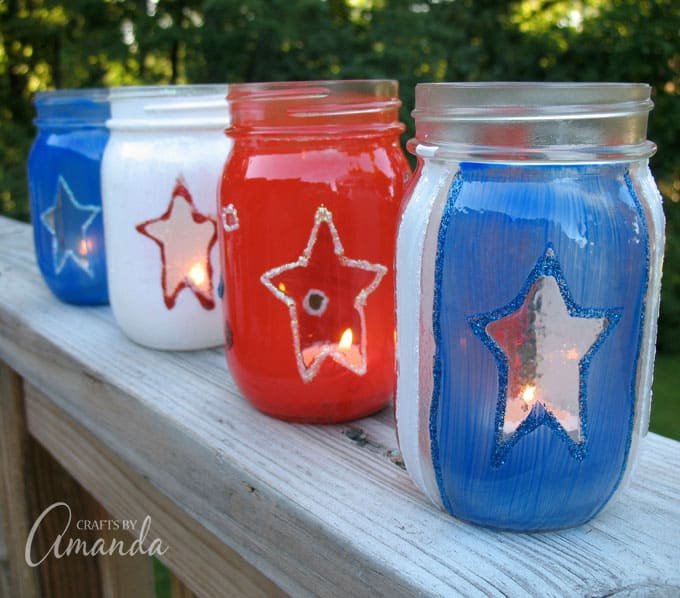 4 painted jars for 4th of july