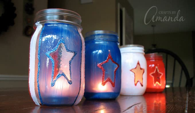 4th of july luminaries on table