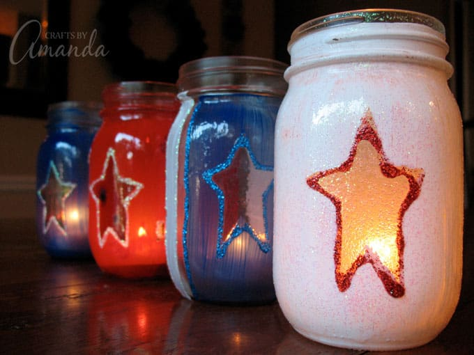 painted 4th of july luminary jars