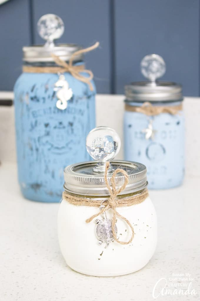 Distressed painted mason jar canister set