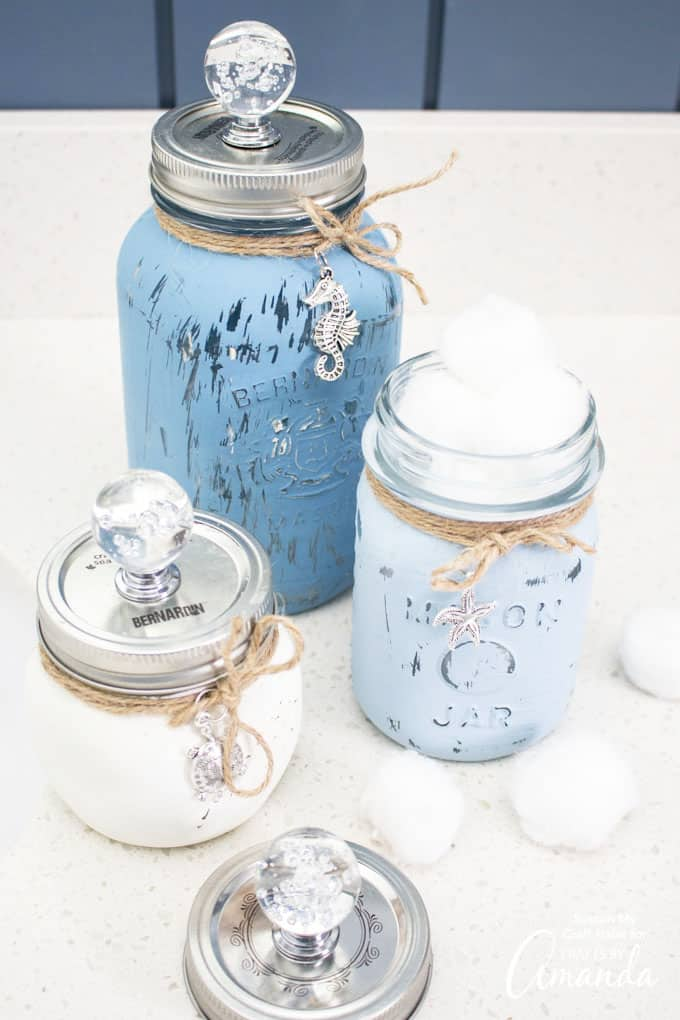 painted mason jars with ocean charms