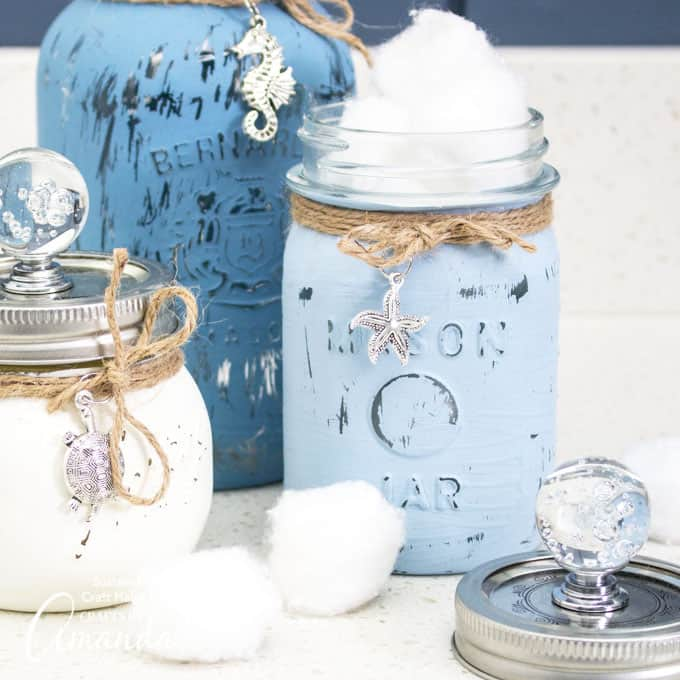 Mason jar canister in blue