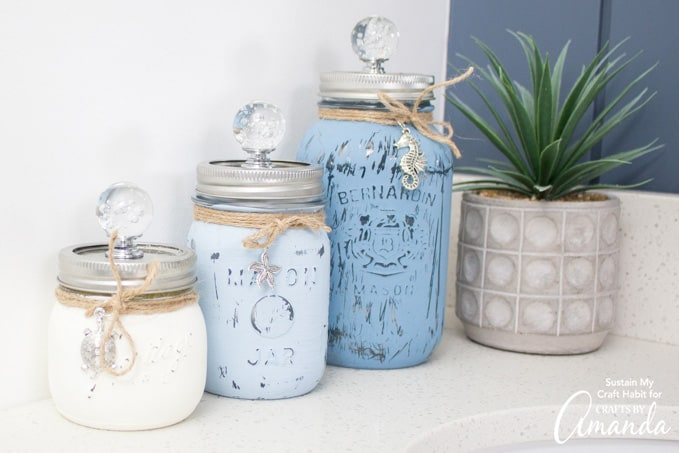 set of three mason jar canisters