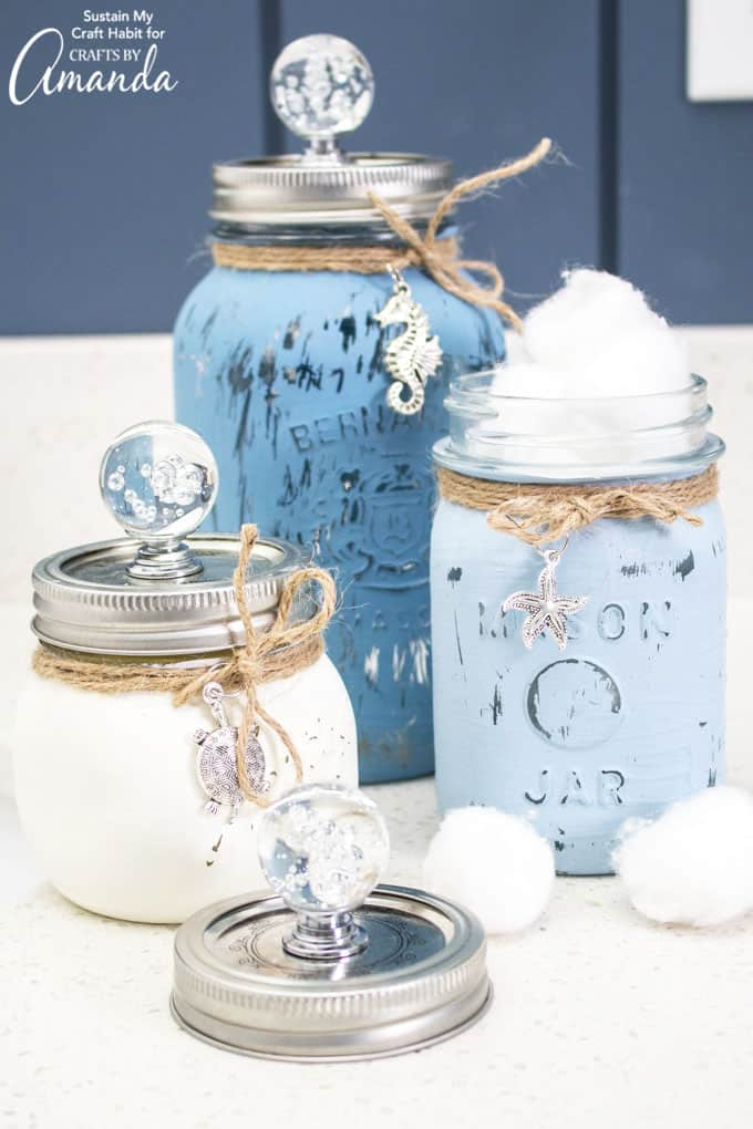 Mason Jar Canister Set in blue and white