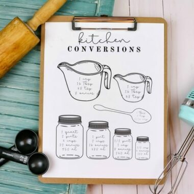 Free Printable Chart for Kitchen Conversions