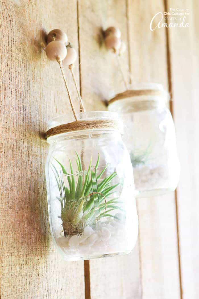 Hanging Mason Jars with airplants