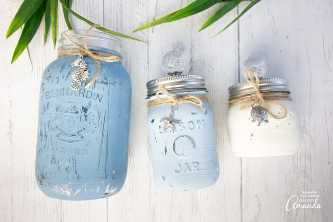 3 painted and distressed mason jars