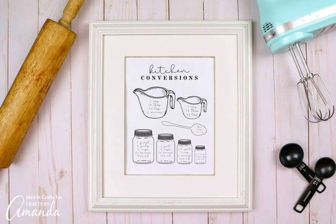 kitchen conversion chart in a frame