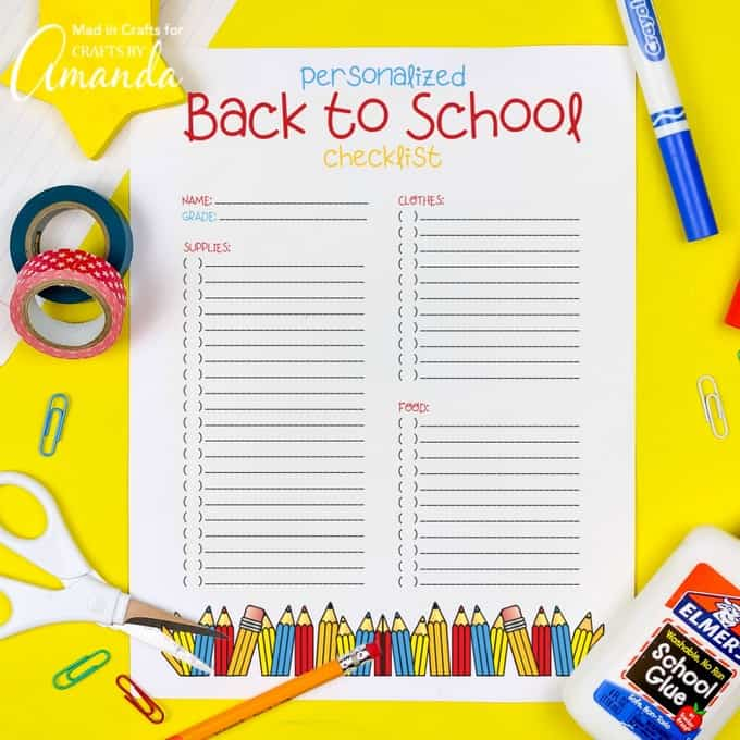 Free Printable Back to School Checklist - Crafts by Amanda