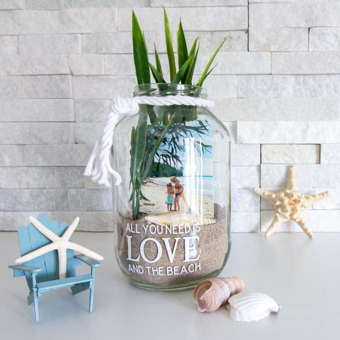 beach themed photo jar